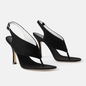 New Zara heeled leather sandals with strap